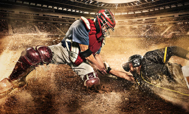 Two Baseball Players in Competition stock photo