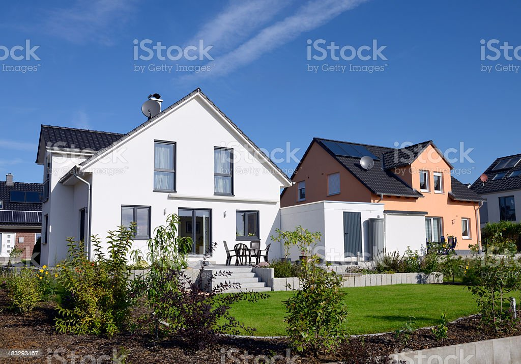 Two basic family houses stock photo
