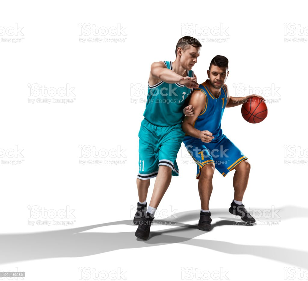 two basketball players gameplay isolated on white stock photo