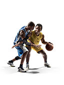 Two basketball players, one in blue, one in yellow uniform