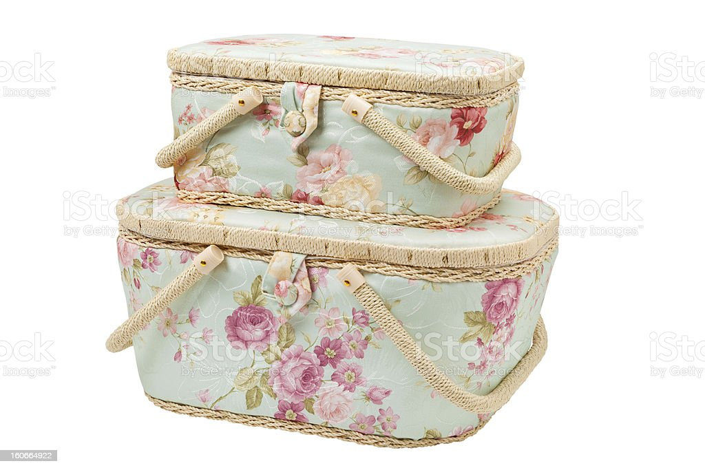 two baskets for storage of sewing accessories royalty-free stock photo