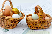 Two baskets with eggs, minimize risk on investment