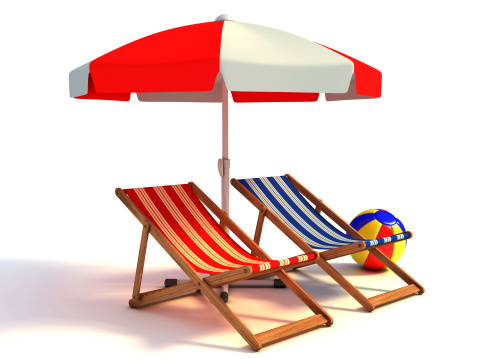istock two beach chairs under sunshade 3d illustration 488120133