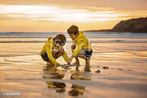 istock Two beautiful children, boy brothers, playing on the beach with sand and running in the water on sunset 1134255755