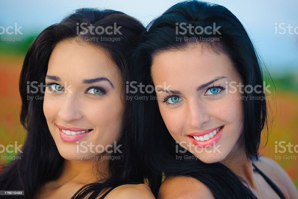 two beautiful fashion models on nature royalty-free stock photo
