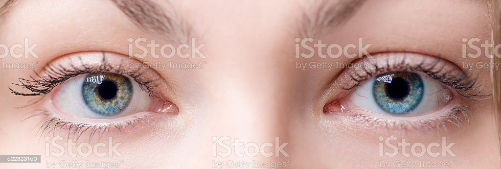 Two beautiful female eye with lens close up stock photo