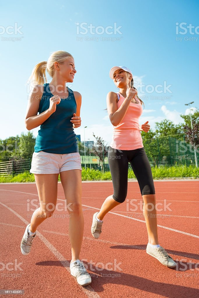 Two Beautiful Female Joggers royalty-free stock photo