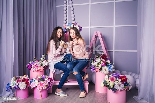 961500822 istock photo Two beautiful girls in jeans and pink sweaters are holding beads in studio with decor of flowers in baskets. 961500810