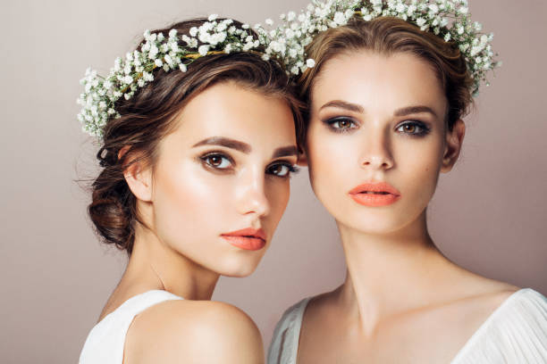 two beautiful girls - makeup fashion stock pictures, royalty-free photos & images