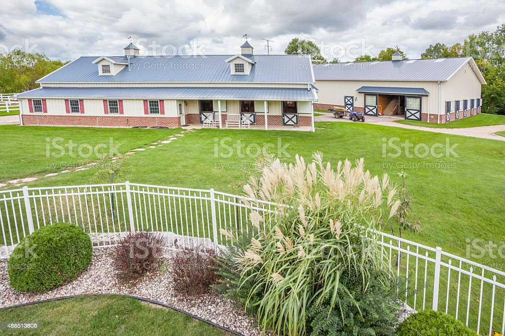 Two Beautiful Horse Barns With Landscaping Stock Photo Download Image Now Istock