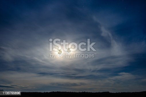 istock Two beautiful moons look at us from the sky 1133765896