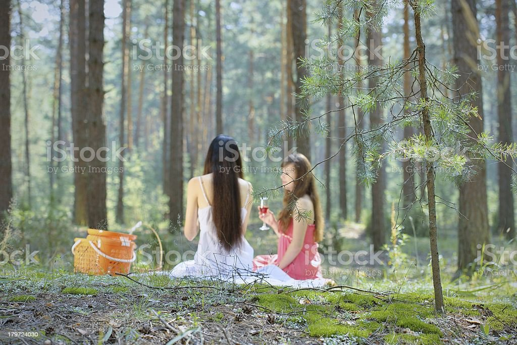 Two beautiful woman at picnic in forest royalty-free stock photo