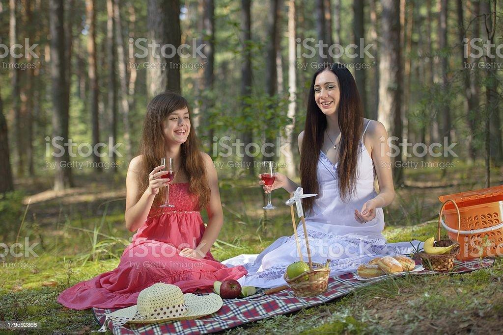 Two beautiful woman at picnic royalty-free stock photo