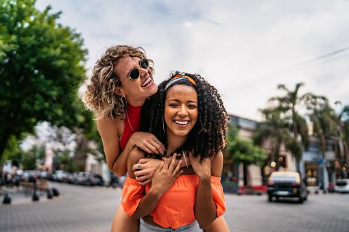 Two beautiful women having fun