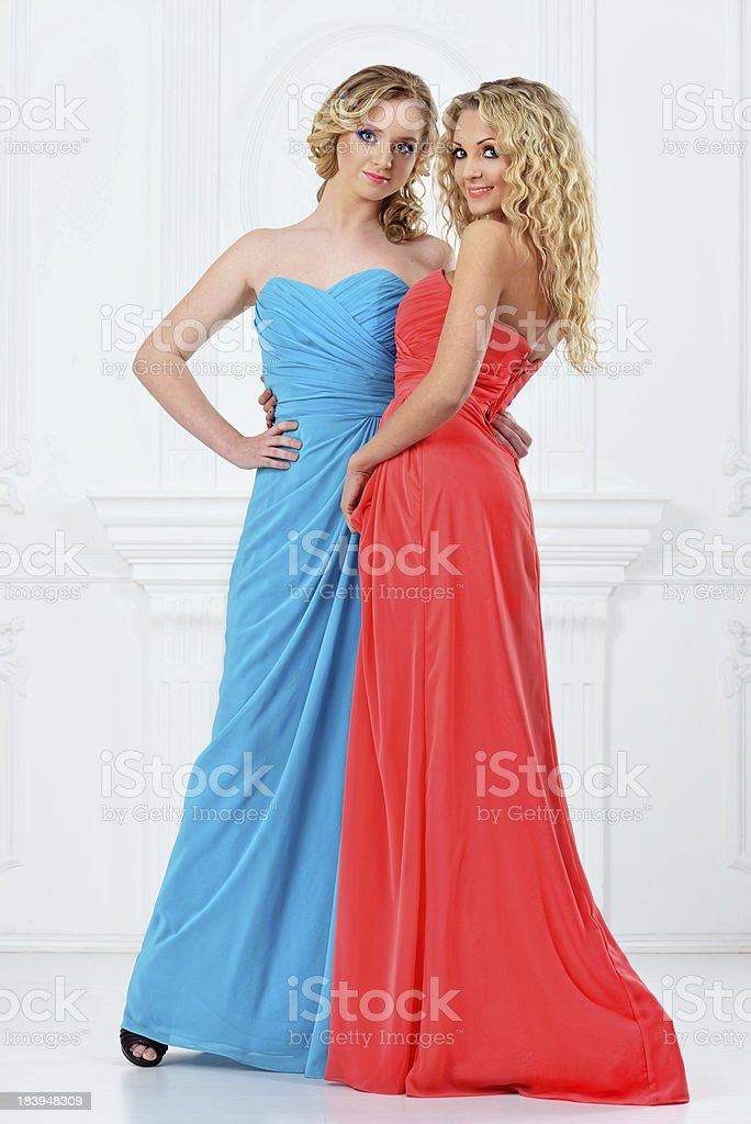 Two beautiful women in evening dresses royalty-free stock photo