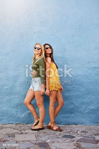 istock Two beautiful women in stylish casuals 547512550