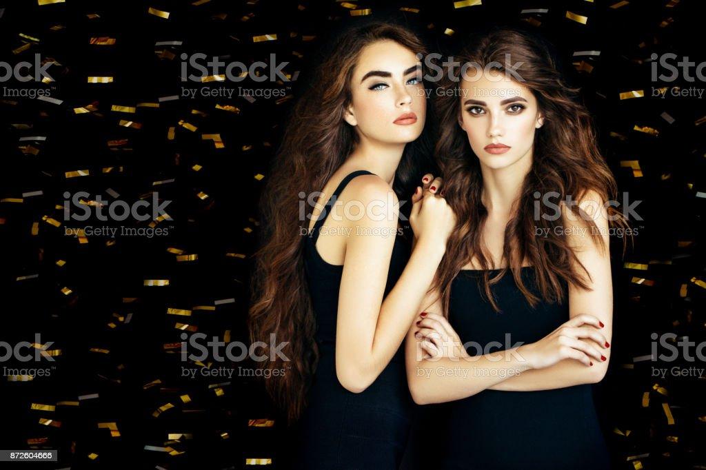 Two beautiful women stock photo