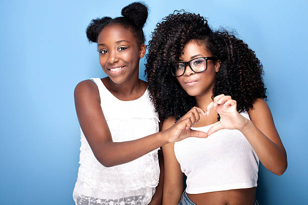 Two beautiful young sisters posing. stock photo