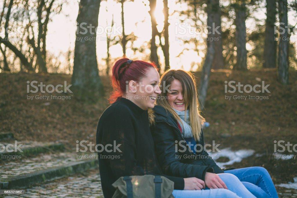 兩個美麗的年輕女子在公園的長凳上休息 免版稅 stock photo