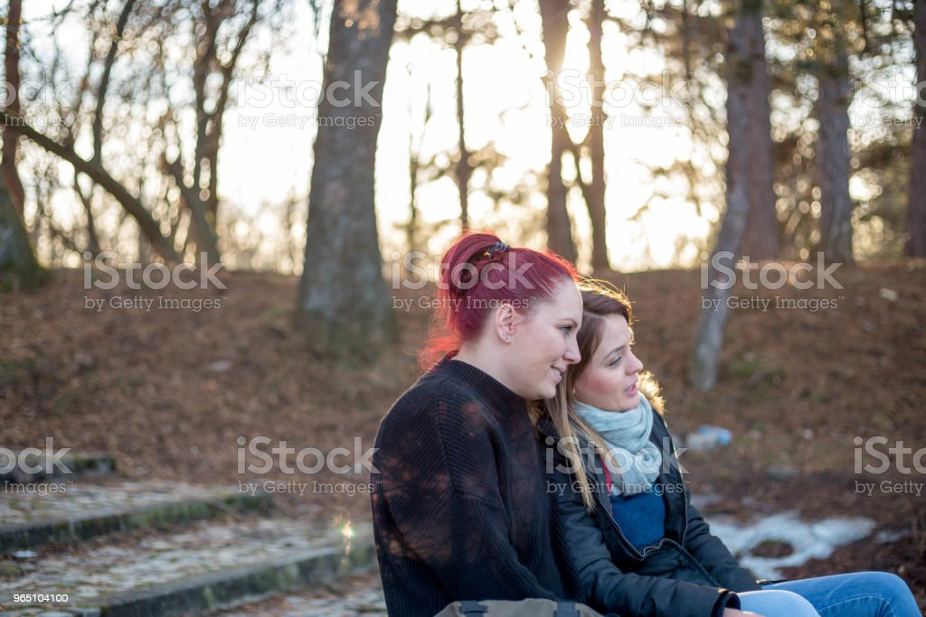 Two beautiful young woman resting on a bench in the park royalty-free stock photo