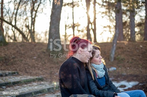Two Beautiful Young Woman Resting On A Bench In The Park Stock Photo & More Pictures of Adult