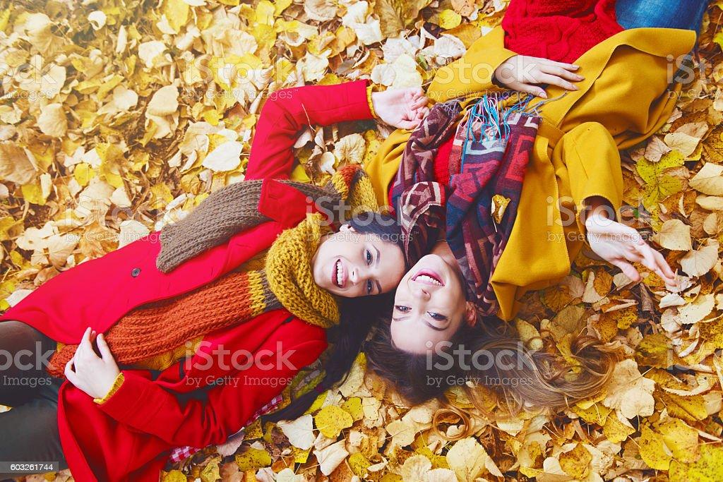 Two beautiful young women lying on yellow leaves stok fotoğrafı