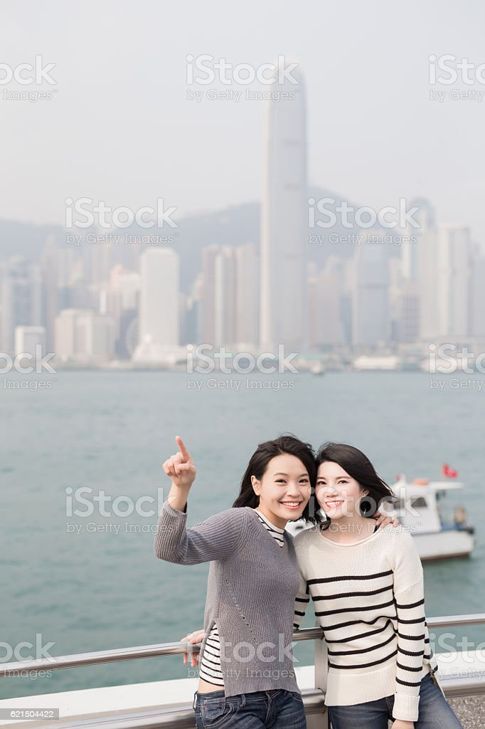 two beauty woman look somewhere foto stock royalty-free
