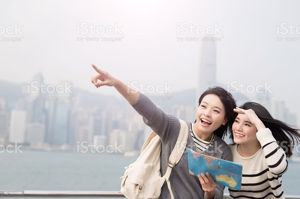 two beauty woman take map foto stock royalty-free