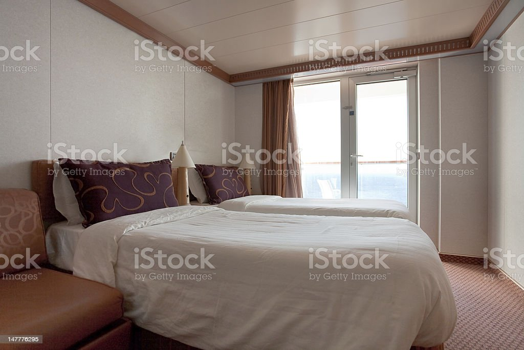 two bed cabin on cruise liner -  room stock photo