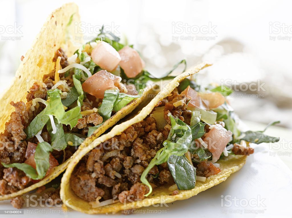 two beef tacos stock photo