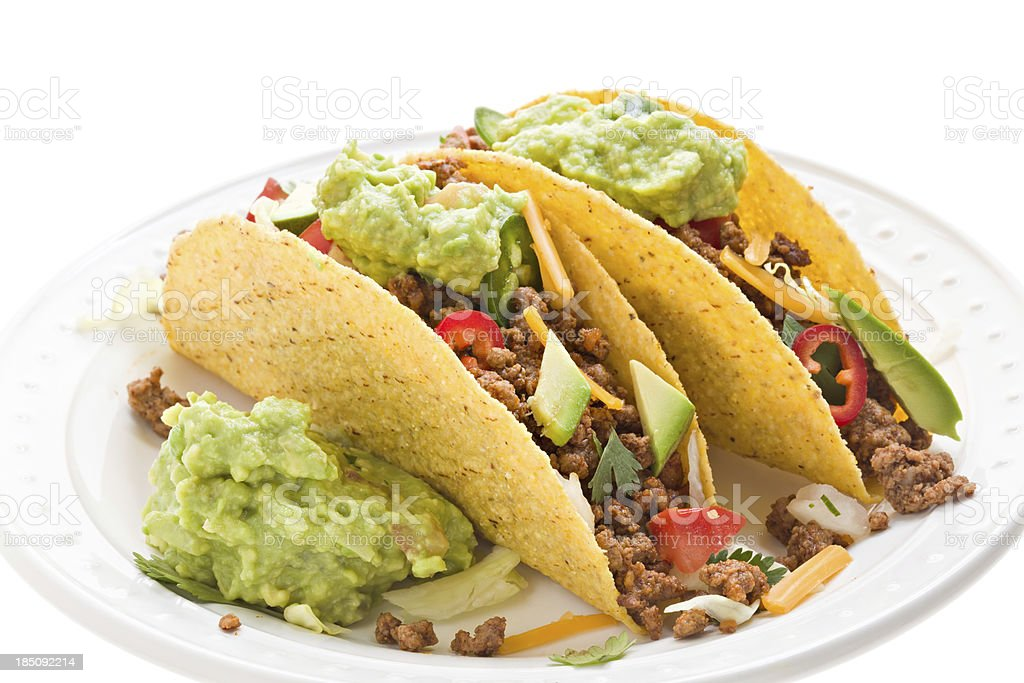 Two Beef Tacos With Guacamole stock photo
