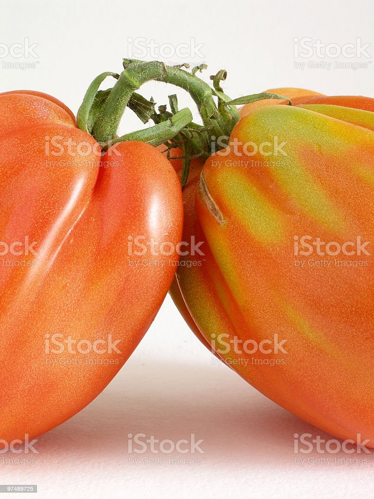 Two beef tomatoes close up royalty-free stock photo