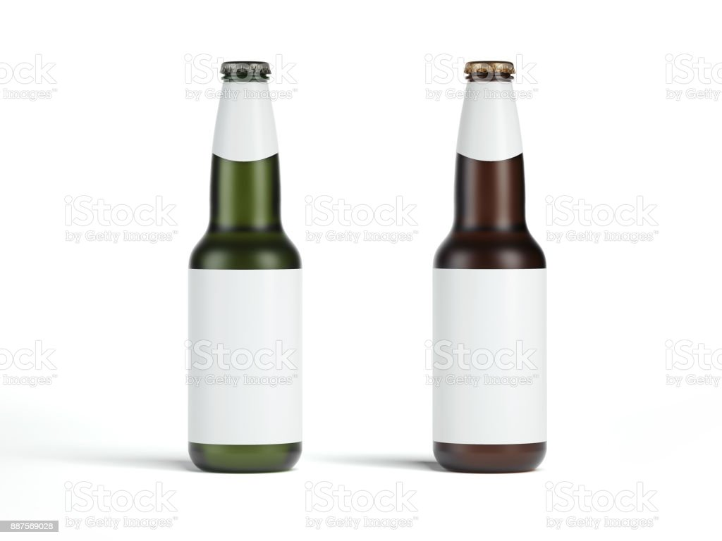 Two beer bottles with blank label. 3d rendering stock photo