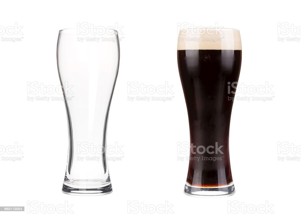 Two beer glasses isolated on white background stock photo
