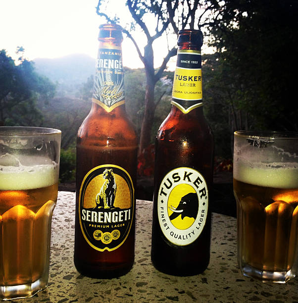 Two beers, tusker and serengeti stock photo