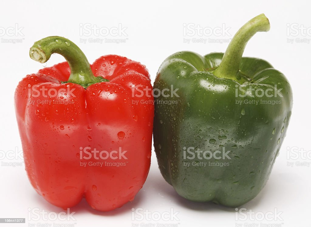 Two bell peppers stock photo