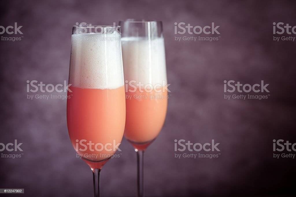 Two bellini cocktails stock photo