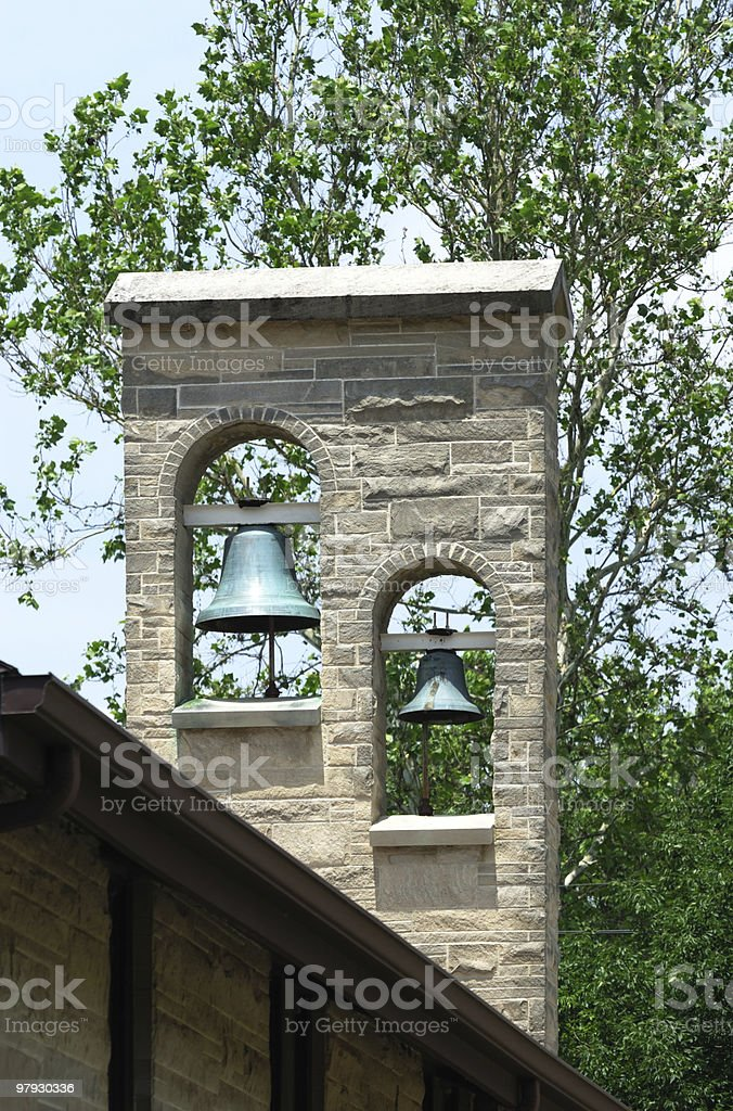 Two Bells in Church Tower royalty-free stock photo
