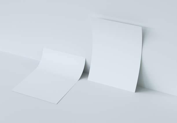 Two bending Paper Mockup. 3d rendering. Two bending Paper Mockup. 3d rendering. bending stock pictures, royalty-free photos & images