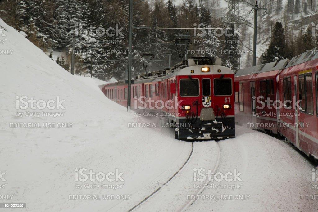 Two Bernina Express trains stock photo