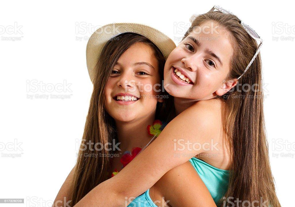 Two best friend girls having fun stock photo