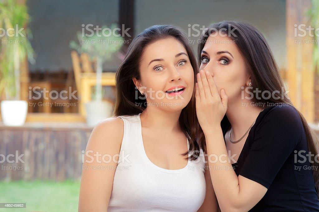 Two Best Friend Girls Whispering a Secret stock photo