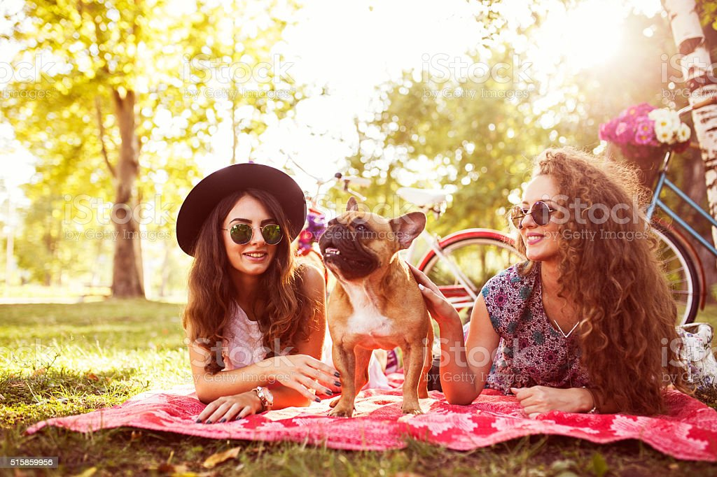 Two best friends and cute dog stock photo