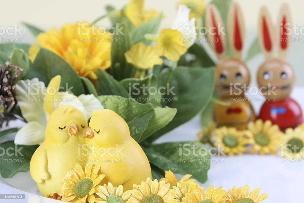 Two Biddies at Easter royalty-free stock photo
