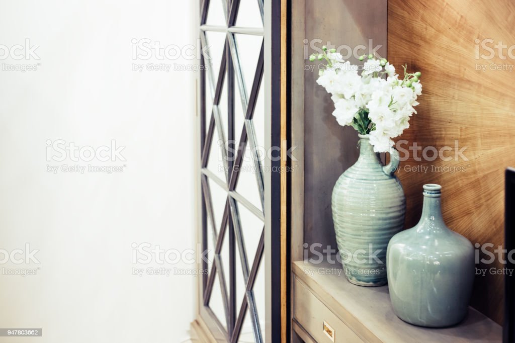 Two Big Beautiful Vases Beautiful Decorative Elements Stock Photo