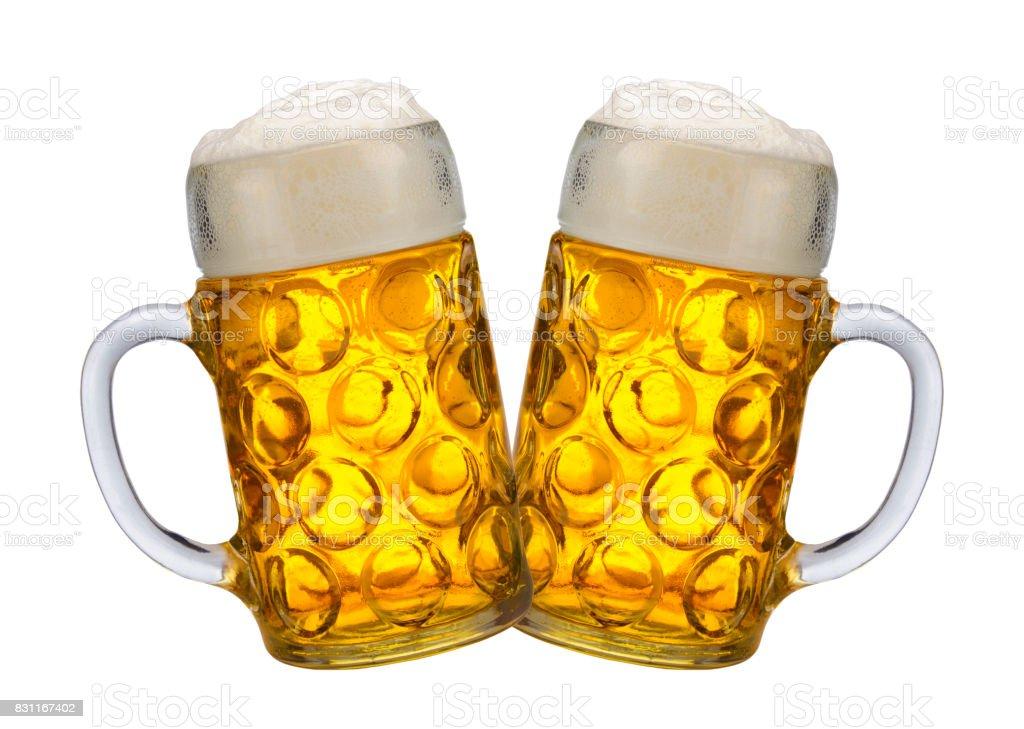 two big beer mugs at Oktoberfest in Munich stock photo