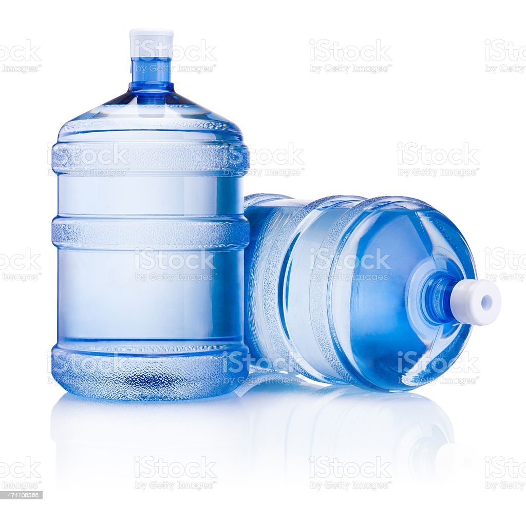Two big bottle of water isolated on white background stock photo