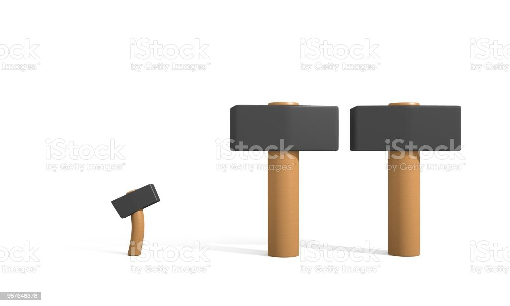 Two big hammers and one small hammer. Funny picture. стоковое фото