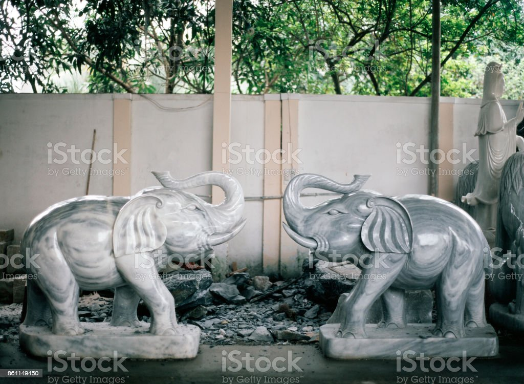 Two big marble elephants in Saigon, Vietnam for sale royalty-free stock photo