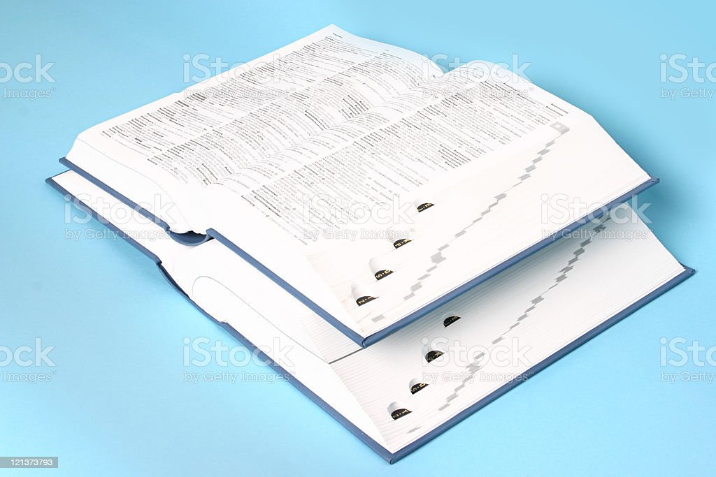 Two big opened books (Side top  view) royalty-free stock photo